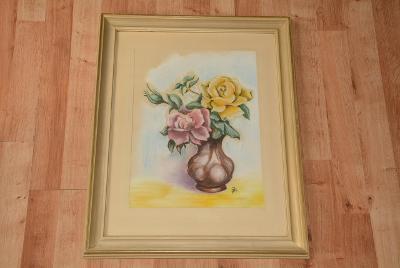 obraz, zasklený pastel, růže