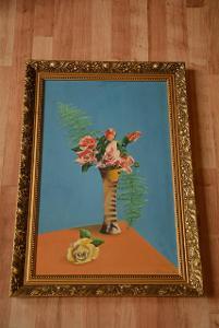 obraz, olej, zátiší s růžemi