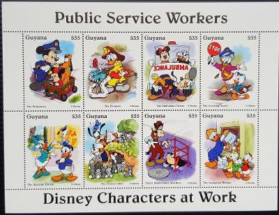 Guyana Disney dětské, 1tiskový list 8ks známek I.