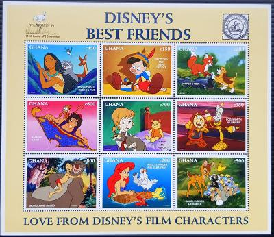 Ghana Disney dětské, 1tiskový list 9ks známek