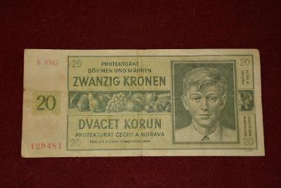 bankovka 20 korun Československých 1944 série SG