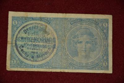 bankovka 1 koruna Československých řada A 057