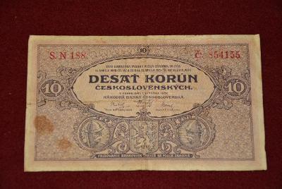 bankovka 10 korun Československých 1927 série SN