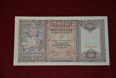 bankovka 50 korun slovenských 1940 série FN
