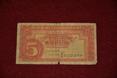 bankovka 5 korun československých 1945 série Zu