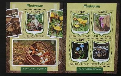 Sierra Leone 2016 Mi.7513-6+Bl.1035 Houby a lesní flora, mykologie