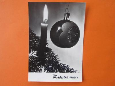 Pohlednice Vánoce - retro - vánoční ozdoba