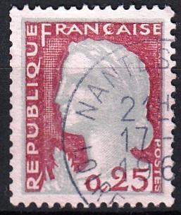 Francie 1960 Mi.1316 razítkovaná, prošla poštou