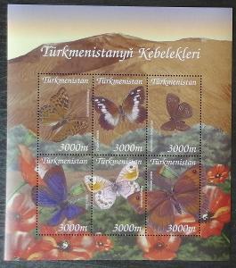 Turkmenistán 2002 Mi.154-9 9€ Motýli Střední Asie, hmyz