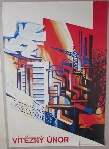 Plakát - Vítězný únor - výročí - komunismus, propag