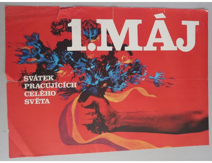Plakát - 1. máj - komunismus, propaganda (poškoz.) - Antikvariát