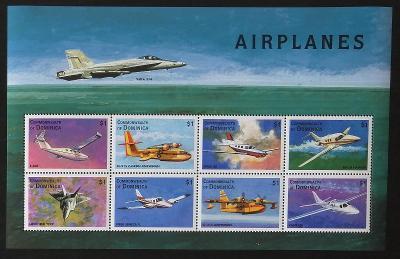 Dominika 1998 Mi.2548-5 8,5€ Letadla světa a historie letectví