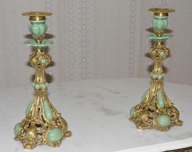Zámecké svícny - porcelán + bronz - KRÁSNÉ - Starožitnosti