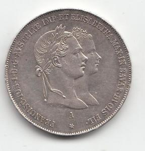 """Fr.J.I.,1 zlatník 1854 A jub. """"R""""  vzácny roč. super stav TOP, od 1 Kč"""