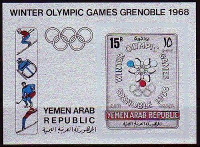 Jemen 1967 YAR Olympijské hry Grenoble, silver provedení kat. 50 Euro!