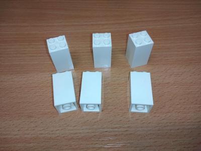 Lego díl 30145 - 6ks vysoká bílá kostka