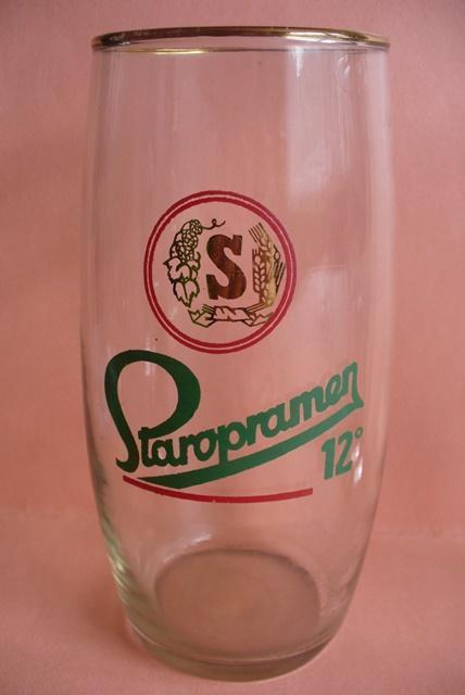PRAHA, Staropramen, 05 L, červené kruhy,  JEN  zlaté logo - Nápojový průmysl