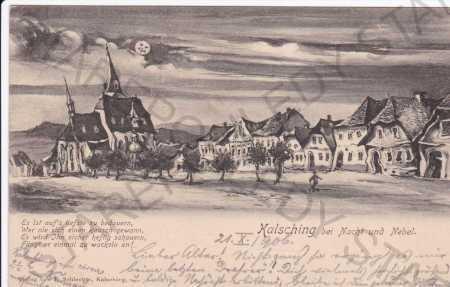 Chvalšiny, humorně laděná kresba obce v noci, kres