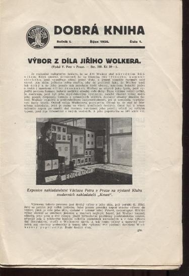 Dobrá kniha, ročník I., číslo 1. - 10./1926 - 1927 (komple - Knihy