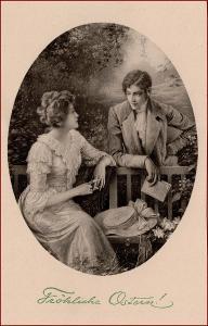 Velikonoce * žena, muž, lavička, gratulační, nakl. Munk * M3135