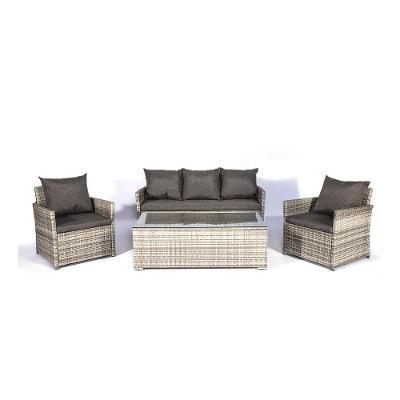 Světle šedý set zahradního nábytku z ratanu Diane