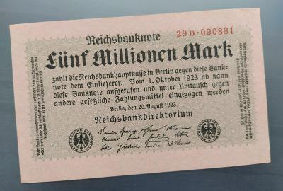 UNC NĚMECKO 5 Milionen Mark 1923