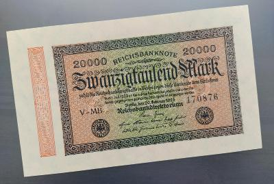 UNC NĚMECKO 20.000 Mark 1923 č.1