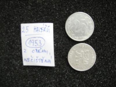 25 haléř - 1953 - mince nečištěná z peněžního oběhu
