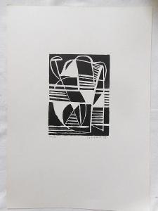 Josef Istler - Abstraktní kompozice, dřevoryt, rok 1946!!!!