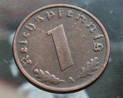 """1 říšský fenik, 1937 Značka mincovny """"A"""" - Berlín  (t1/6)"""