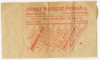 Praha-obchod-Josef Koretz-1.rep.-krejčovské potřeby-prýmky-vyšívání