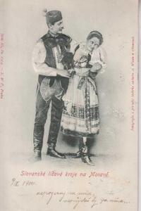 Kroje, slovanské, muž se ženou, plastická karta, D