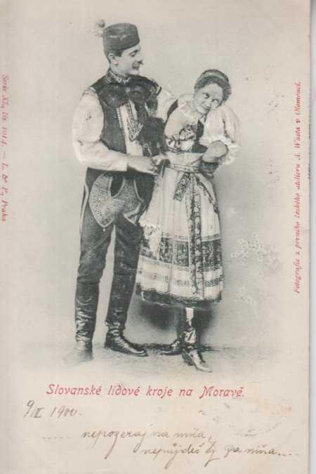 Kroje, slovanské, muž se ženou, plastická karta, D - Pohlednice