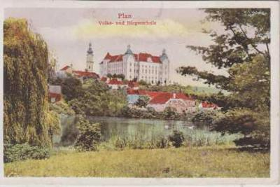 Planá u Mariánských Lázní (Plan), škola, kolorovan