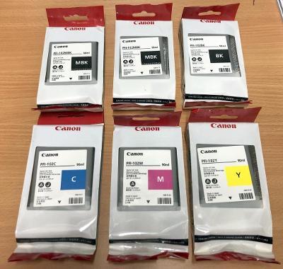 Canon PFI-102 originální celá sada, 2x MBK, 1x BK, 1x C, 1x M, 1x Y