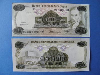 100.000 Cordobas 1987 Nicaragua - přetisk - P149 - UNC - /I86/