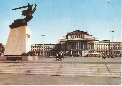 Warszawa - Plac Teatralny, pomnik Bohaterów, autobus (Polsko) 3-4702++