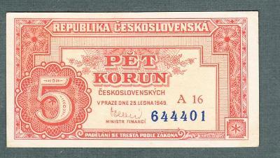 5 kčs 1949 serie A16 neperforovana stav 1+