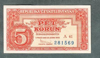 5 kčs 1949 serie A41 neperforovana stav 1+