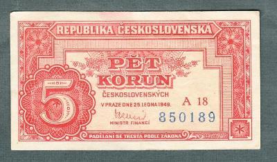 5 kčs 1949 serie A18 neperforovana stav 1+