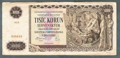 Slovensko 1000 sk 1940 NEPERFOROVANA