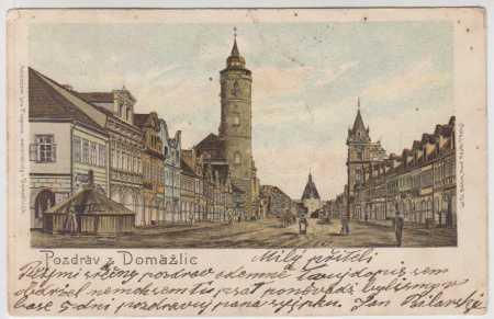Domažlice, náměstí, litografie, DA