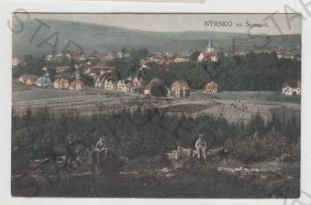 Klatovy, Nýrsko, Šumava, Pohled na město, kolorova