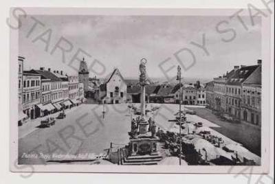 Znojmo (Znaim) - náměstí, trh, auto (nákladní)