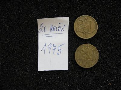 20 haléř - 1975 - mince nečištěná z peněžního oběhu