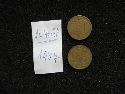 20 haléř - 1977 - mince nečištěná z peněžního oběhu