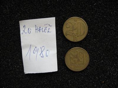 20 haléř - 1980 - mince nečištěná z peněžního oběhu