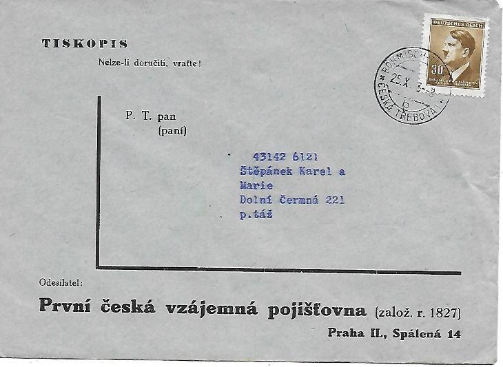 Firemní obálka Praha Česká Třebová - Filatelie