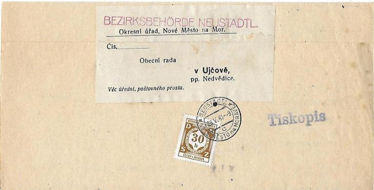 Služební dopis Nové Město na Moravě - Filatelie