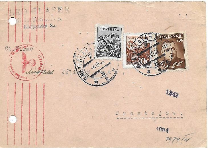 Lístek Slovenský štát vlaková pošta Bratislava Žilina - Filatelie